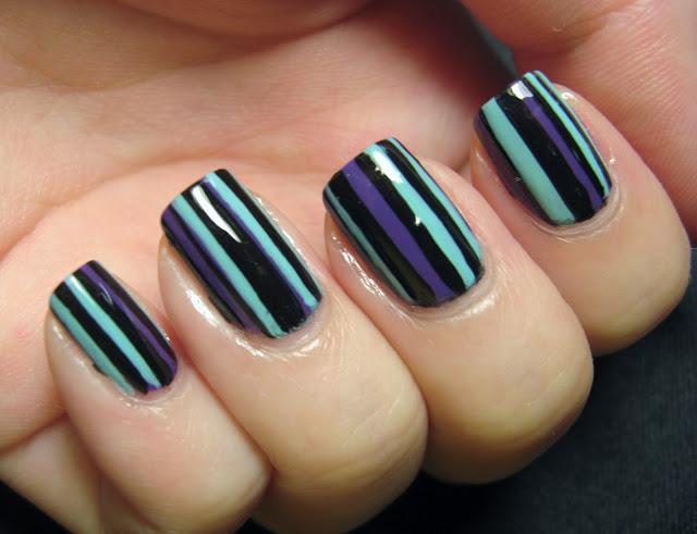 Tri-tone Striped Nails