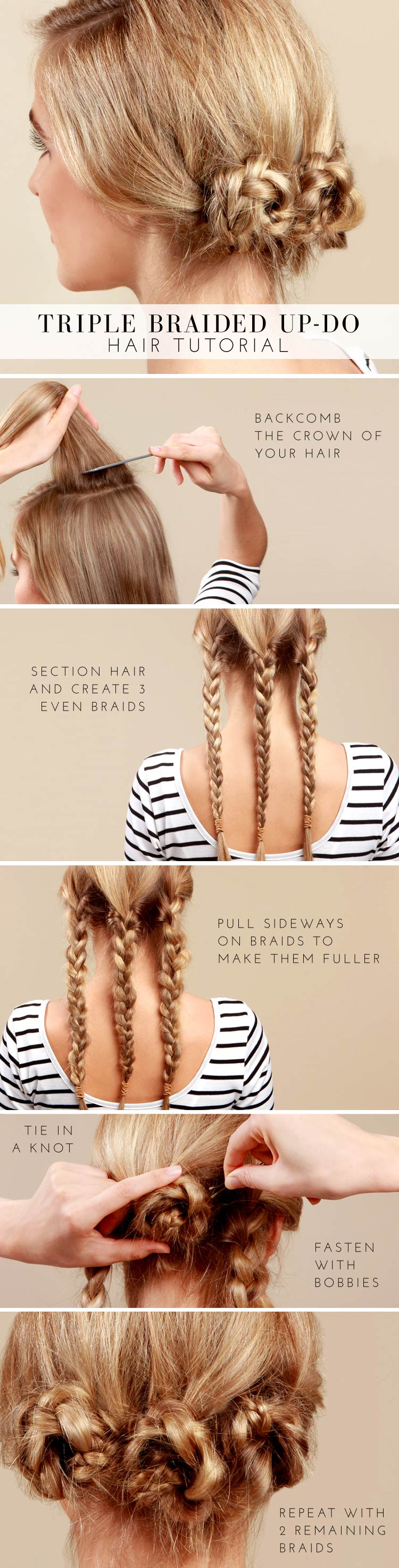 Triple Braided Updo Hairstyle Tutorial