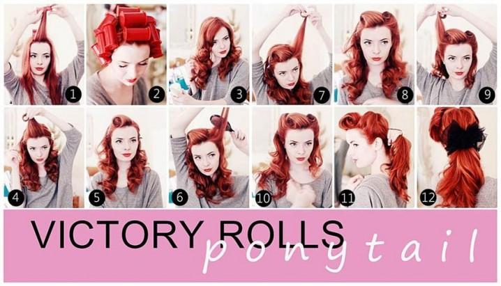 Victory Rolls Ponytail Vintage Hairstyle Tutorial