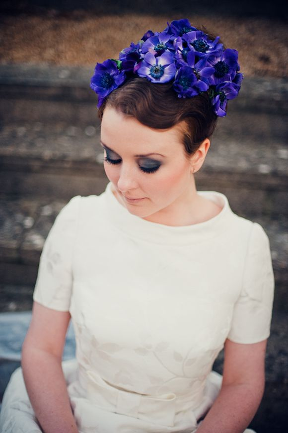 Vintage Floral Bun Bride Hairstyle via