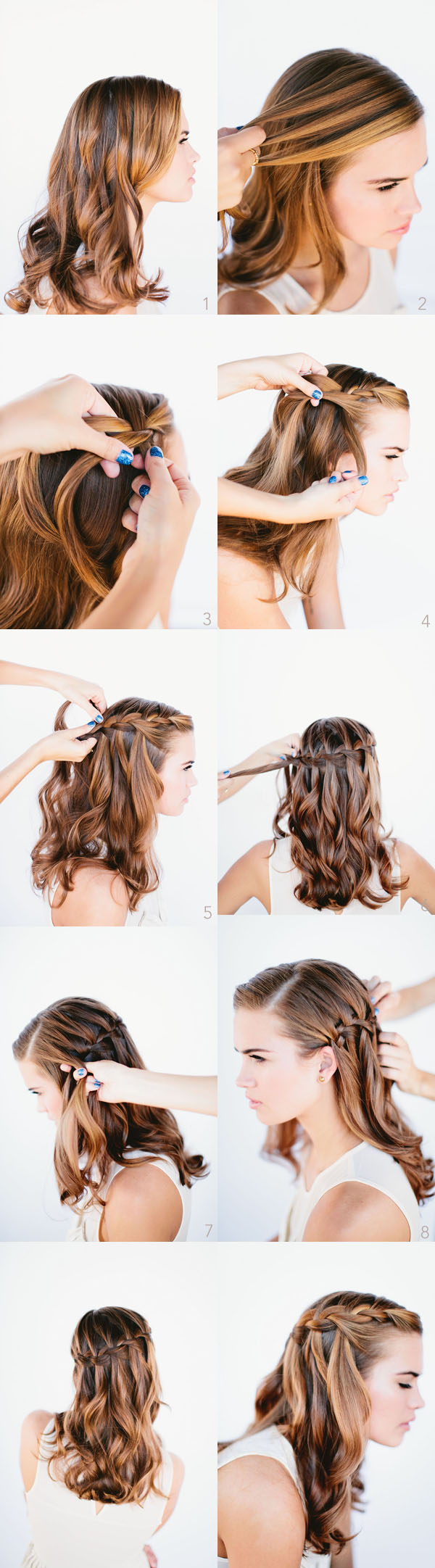 Hair Braids to do on Yourself Waterfall Braid For Long Hair