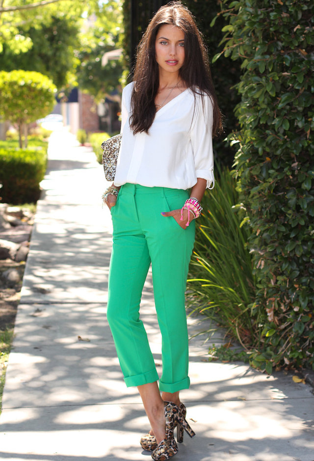 White Blouse Outfit with Green Jeans