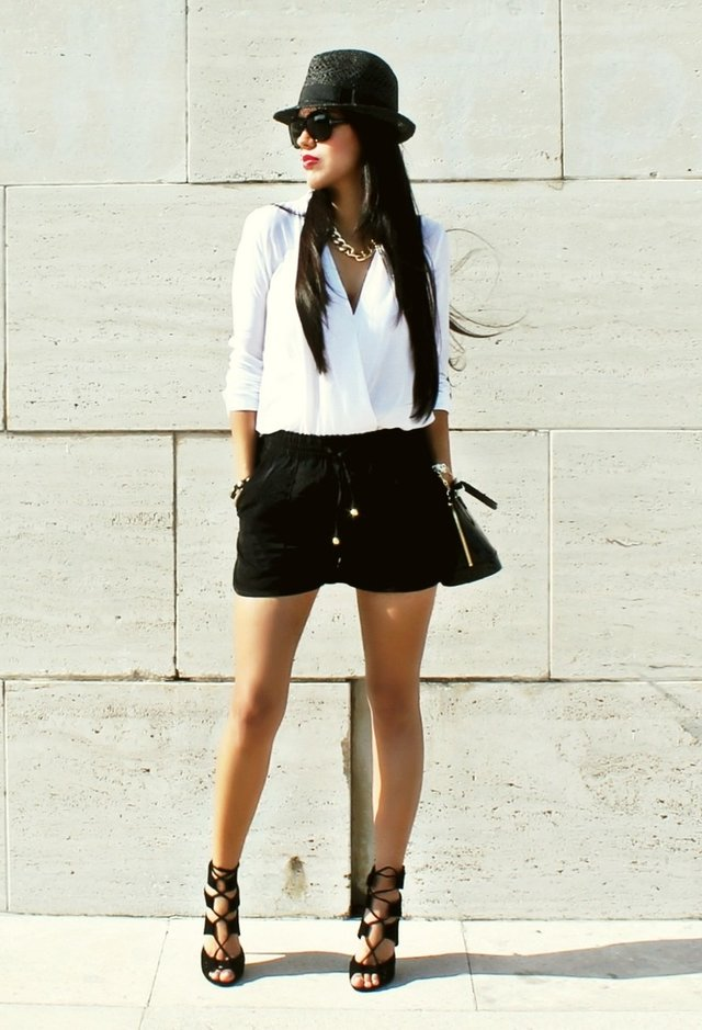 White Blouse Outfit with a Black Hat