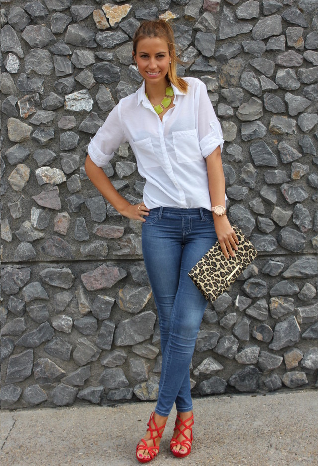 White Blouse Outfit with a Blue Jeans
