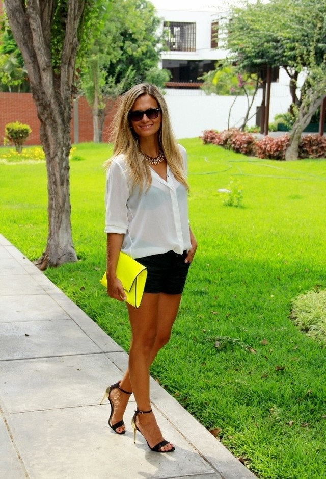White Blouse Outfit with a Bright Yellow Clutch