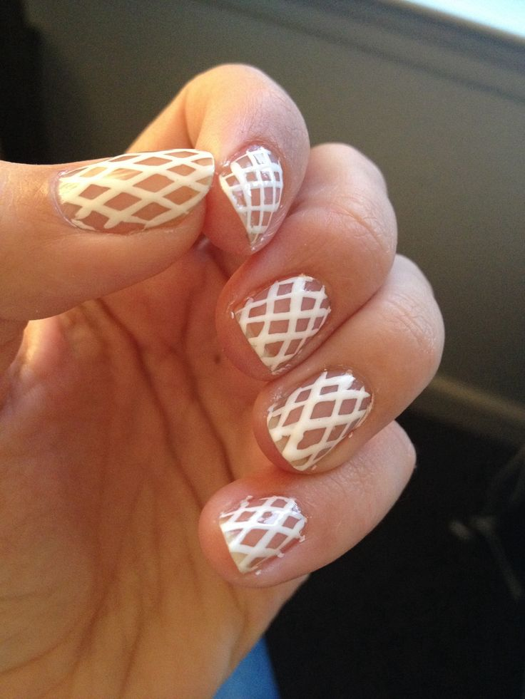 White Fishnet Nails