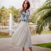 White Midi Skirt Outfit with a Printed Blouse