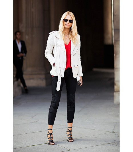 White Moto Jacket for Spring