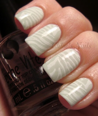 White Nails with Zebra Print