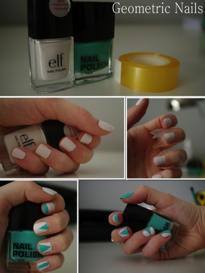 White and Green Nails