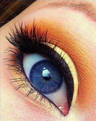 Orange Eye Makeup Ideas: Pastel Yellow as Liners