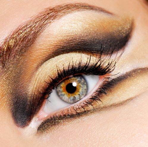 Gold Eyes for Night Makeup Ideas via