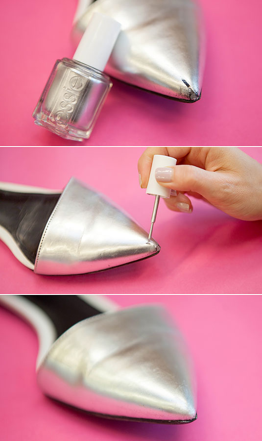 Cover up a scratch on scuffed shoes