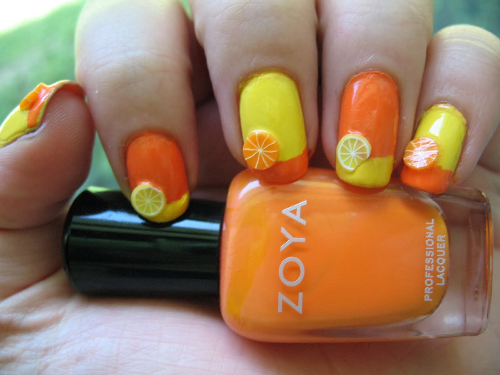 3D Orange Nail Art