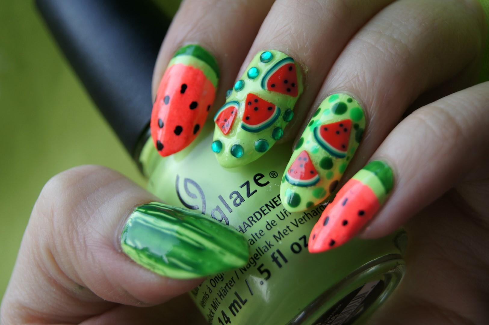 3D Watermelon Nail Art