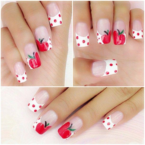 Apple Print for Summer Fruit Nail Designs