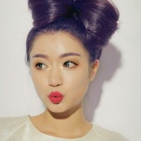 Ash Purple Bow Hairstyle