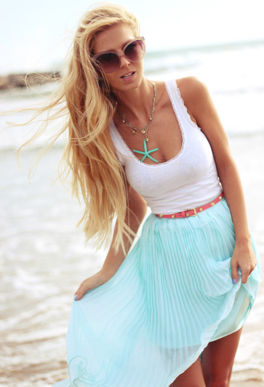 Baby Blue Outfit Idea with Pleated Skirt