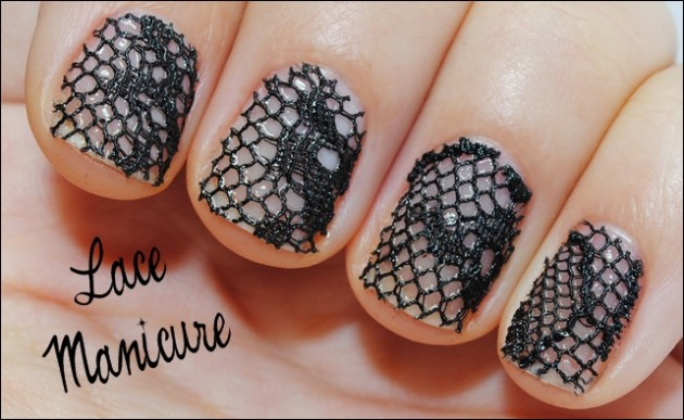 Beaded Lace Nail Art Idea