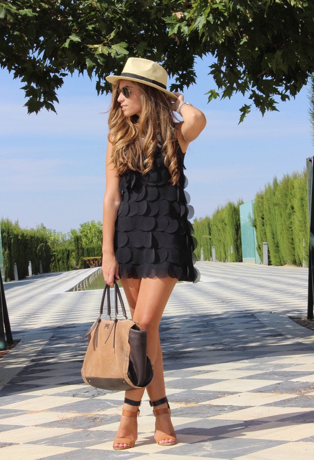 Black Dress Outfit Idea with a Hat