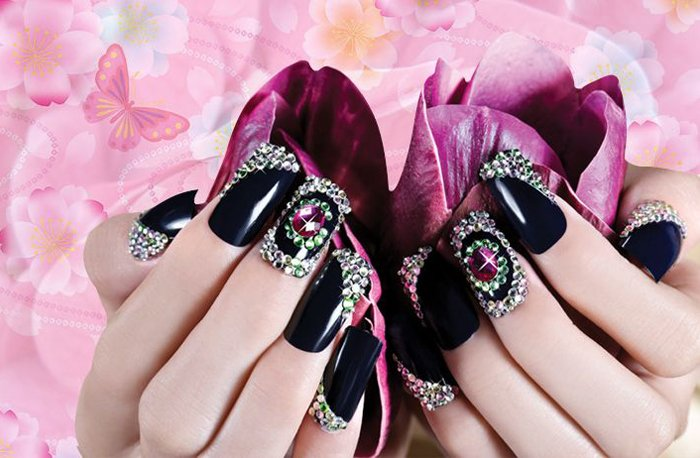 Black Embellished Gem Nails