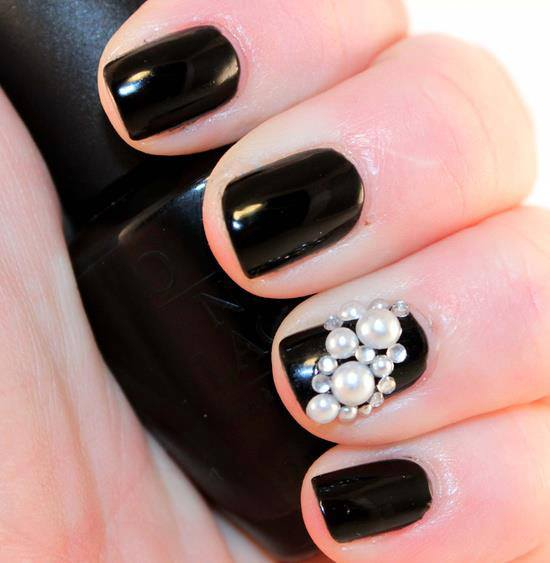Black Embellished Gem Nails