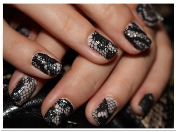 Black Lace Nail Art Idea