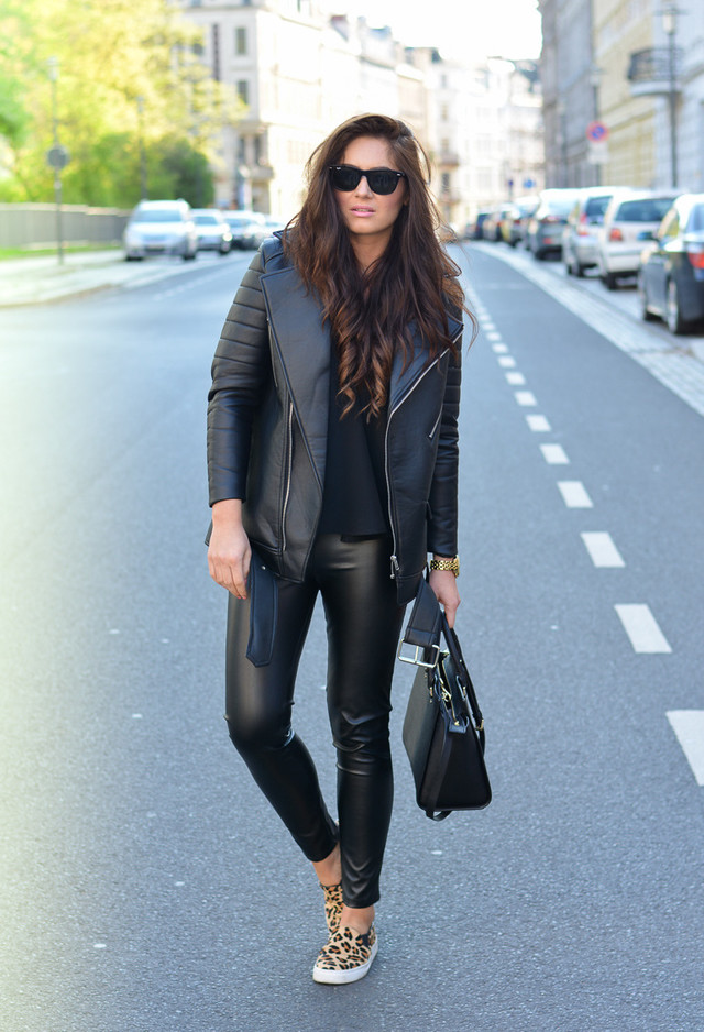 Black Leather Outfit with Leopard Printed Slip-on Shoes