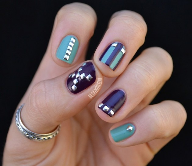 Black and Blue Studded Nails