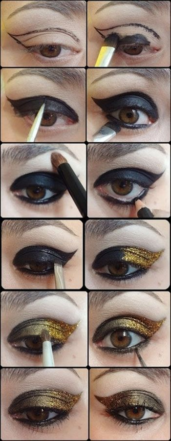 Black and Golden Eye Makeup Tutorials
