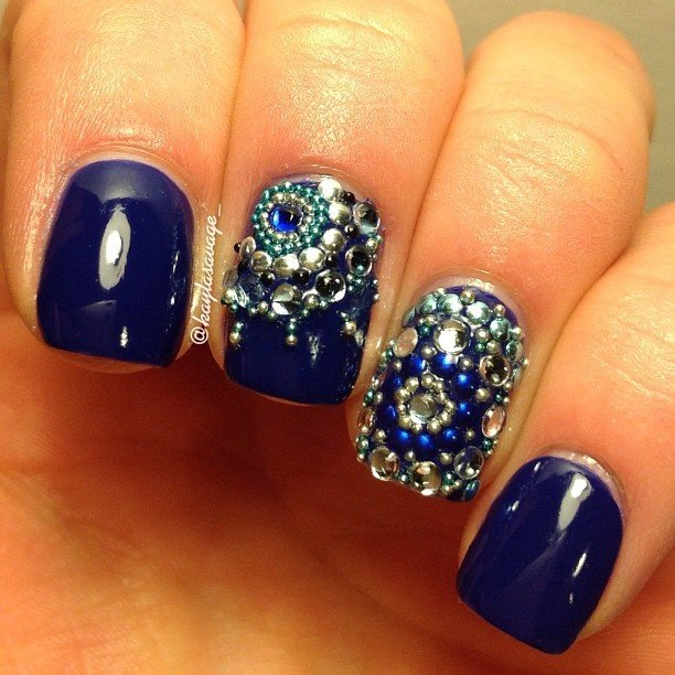 Blue Embellished Gem Nails