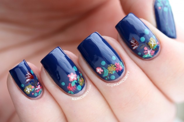 Blue Flower Nail Designs