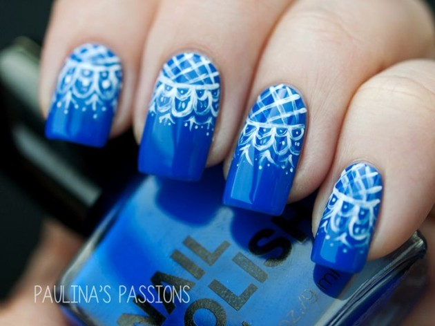 Blue Lace Nail Art Idea