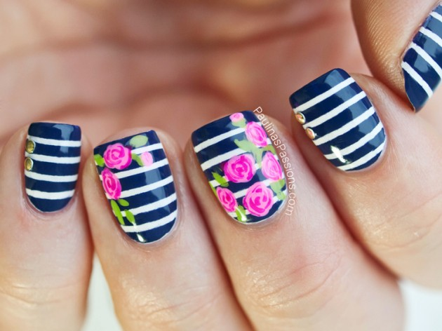 Blue Striped Flower Nail Designs