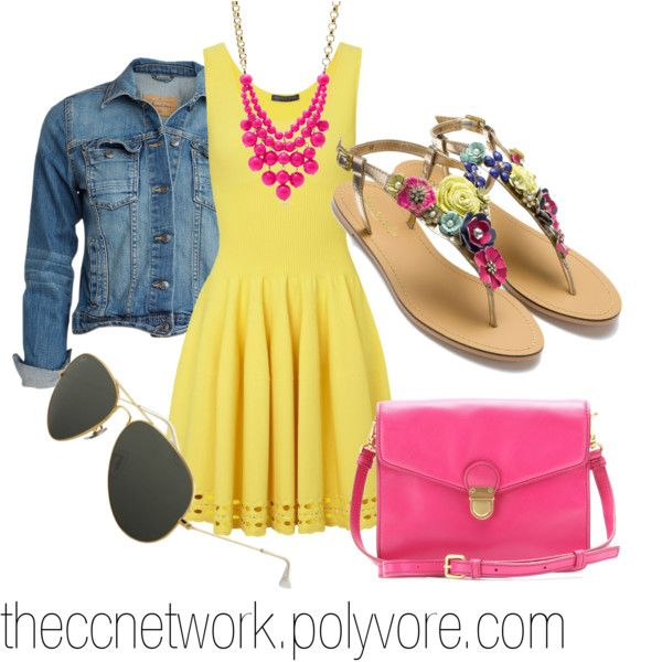 Bright Colored Dress Outfit Idea for Summer