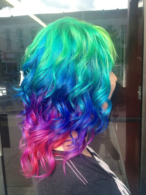 Bright Ombre Rainbow Hairstyle for Medium Hair
