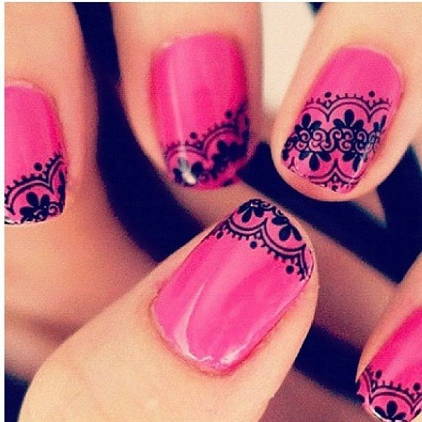 Bright Pink Lace Nail Art Idea