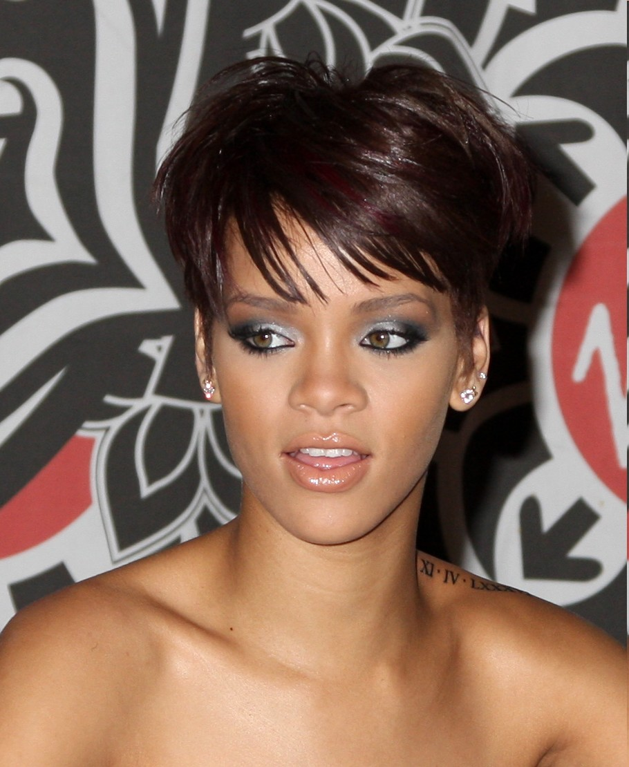 Brunette Short Hair with Red Highlights