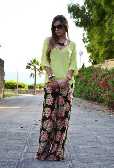 Casual Outfit Idea with Floral Loose Pants