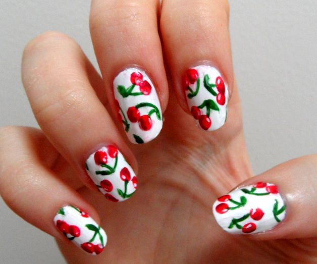 Cherry Print for Summer Fruit Nail Designs