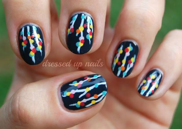 Colorful Christmas Light Nail Design - 15 Creative Nail Designs For Holidays - Pretty Designs