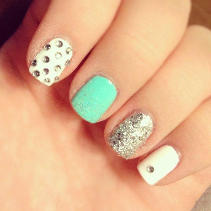 Colorful Embellished Gem Nails