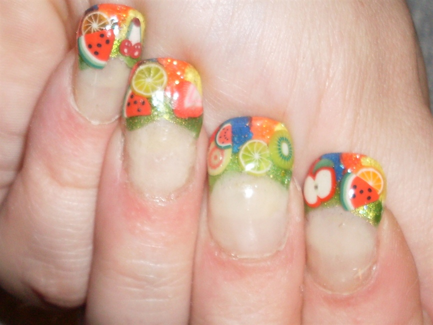 Colorful Print for Summer Fruit Nail Designs
