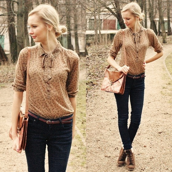 Cool Outfit Idea with a Bowed Blouse