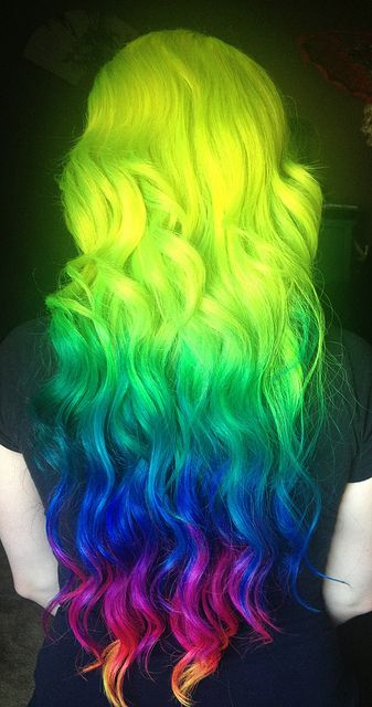 Cool Rainbow Neon Hairstyle