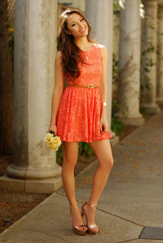 Coral Outfit Ideas - Coral Dress