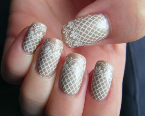 Cream Lace Nail Art Idea