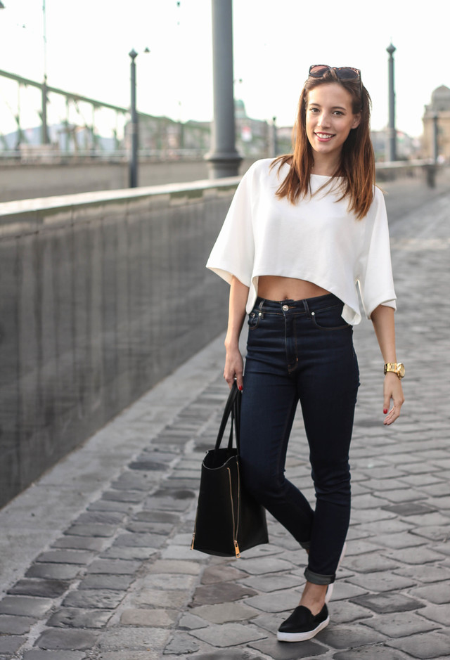 Crop Top Outfit Idea with Black Sneakers