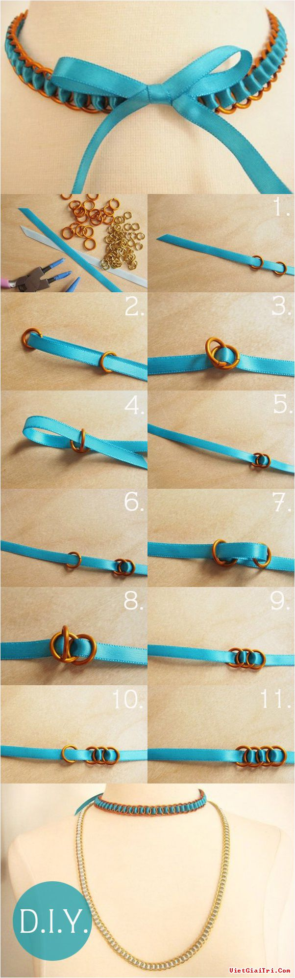 DIY Blue Chain Necklace Tutorial