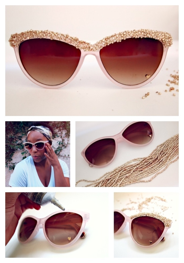 DIY Embellished Sunglasses With Beads